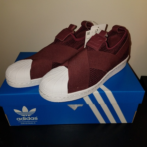 huge selection of fc862 95db8 Adidas Superstar Slip-On Sneakers 8 Red Night NWT
